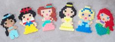 Princess Jasmine, Snow White, Megara, Belle, Cinderella and Ariel perler fuse beads by Cindy Bell