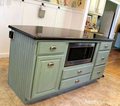 kitchen island makeover duck egg blue chalk paint, chalk paint. Island made from stock cabinets from Lowe's!
