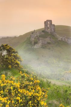 ruins of Corfe Castle, Dorset, UK - I want to go here again. There is a cafe at the base of this hill that has the BEST clotted cream and scones.