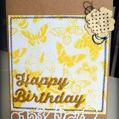 """Carte d'anniversaire """"happy birthday"""" dorée et papillons"""