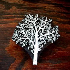 Hand Carved Tree FabricTextile Wood Stamp by PrintBlockStamps, $31.95