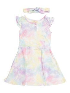 Pattern Fabric, Tie Dye Dress, Tie Dye Patterns, Tj Maxx, Flutter Sleeve, Fit And Flare, Polyester Spandex, Little Girls, Baby Kids