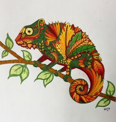 My coloring Johanna Basford Magical Jungle Chameleon Caméléon
