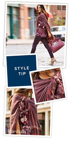 We love the versatility of a scarf. Super easy to stash in your bag. Perfect to warm a fall chill or transition from day to night. Tie to one shoulder and layer over a printed top paired with coated denim.