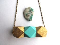 18kt Gold Leaf Necklace Bright Blue and Gold by HomeGrownIllinois, $28.00