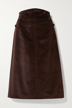Anna Mason's 'Ruth' skirt is made from cotton-velvet in a flattering midi silhouette that's reminiscent of '70s styles. It's designed to sit at the narrowest part of your waist and has discreet slit pockets. Tuck a shirt or chunky sweater into yours. Wear it with: SAINT LAURENT Sweater, Bottega Veneta Shoulder bag, Jimmy Choo Boots, Laura Lombardi Necklace. -- Chocolate cotton-velvet - Concealed zip fastening along back - 100% cotton - Dry clean - Imported