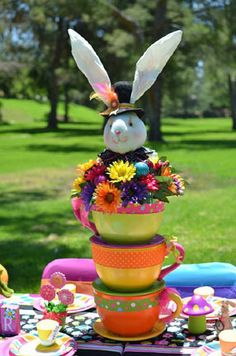 Fun decorations at an Alice in Wonderland Party!  See more party ideas at CatchMyParty.com!
