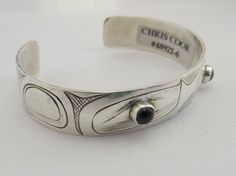Hand Carved Bangle By Chris Cook With Two Cabochon Amethysts