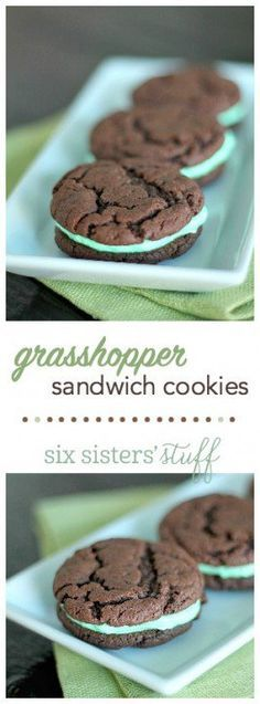 Grasshopper Sandwich Cookies from Six Sisters' Stuff | These cookies are perfectly soft and chewy and the mint frosting in the middle is so good! The perfect recipe for St. Patrick's Day!