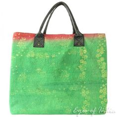 Oversized Women's Beach Tote Vintage Kantha Bag - 13243 | Eyes Of India
