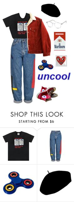 """uncool"" by thishazyheadofmine on Polyvore featuring UNIF, Topshop, Betmar, Spitfire and Converse"