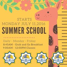 Dear Parents and Families Please note that #summerschool will start this Monday  July 11th 2016. The program will run Monday through  Friday from 9:00 am - 12:00 pm.  A Grab & Go breakfast will be provided to students at 8:45am. If you have any question please contact #StarInternationalAcademy at 3137248990