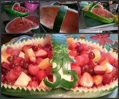 Watermelon fruit basket for a birthday party.