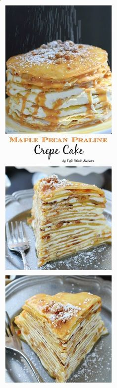 An indulgent maple crepe cake layered with maple buttercream frosting, maple pecan pralines and covered with the most addictive maple white chocolate ganache glaze. It (Chocolate Ideas Maple Syrup) Pecan Praline Cake, Pecan Pralines, Just Desserts, Delicious Desserts, Yummy Food, Maple Buttercream, Buttercream Frosting, Maple Frosting, Chocolate Ganache Glaze