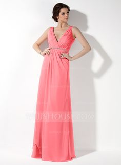 0cda56074d6 A-Line Princess V-neck Floor-Length Ruffle Beading Zipper Up Regular Straps  Sleeveless Blushing Pink Fall General Plus Chiffon Bridesmaid Dress