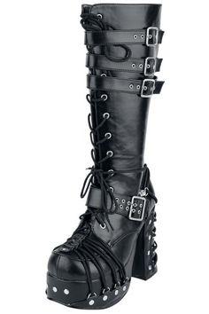 """Stivali neri """"Charade"""" firmati #Demonia con plateau, tacco di 11,5 cm, fibbie e lacci intrecciati."""