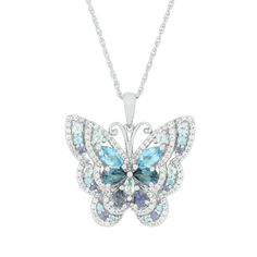 Lab-Created White Sapphire, Iolite & Blue Topaz Butterfly Pendant in Sterling Silver