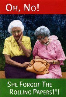 Granny rolls a tight fatty