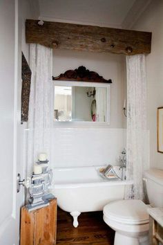 An adorable way to hide the ugly shower curtain.