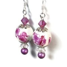 Fuchsia Flower Bead Dangle Earrings. $12.00, via Etsy.
