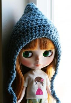Cadet Blue Gnome Helmet for Blythe - Crochet Pixie Hat | elifins - Dolls & Miniatures on ArtFire