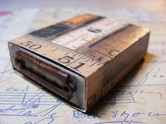 Matchbox idea from Tim Holtz--great storage idea for a small gift or to house a miniature collage.