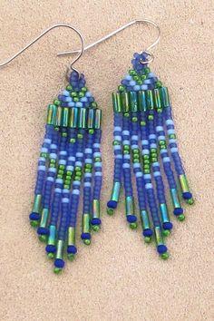Seed Bead Earrings - Cobalt Blue and Green - Lightweight Fringe Earrings