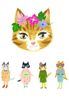 illustration by Aiko Fukawa, cats I Love Cats, Crazy Cats, Cute Cats, Art And Illustration, Cat Illustrations, Gato Animal, Japanese Artists, Cat Art, Illustrators