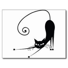 Schwarze Katze Postkarten