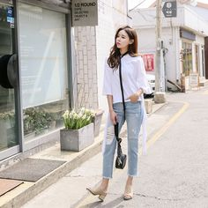 Buy Bottom Tie Tee at Korean Fashion Store. Find the latest Korean clothing styles popular in South Korea. We are always adding new styles daily that come directly from Korea, come take a look! Korean Fashion Summer, Korean Fashion Men, Korean Street Fashion, Ulzzang Fashion, Asian Fashion, Denim Fashion, Fashion Models, Girl Fashion, Fashion Dresses