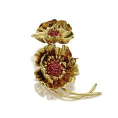 18 karat gold and ruby flower brooch, Van Cleef & Arpels, Paris, circa 1945