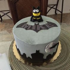 Minion Batman Cake   I smushed a piece by accident but still lovely