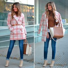 Sheinside Coat, Stradivarius Sweater, Parfois  Handbag, Zara Jeans, Zara Booties