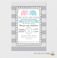 Twins Invitation Twins Baby Shower Elephant by whatthehootdesigns, $8.00