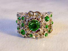 Silver Emerald Rhinestone Ring    Size 5-7 stretch Band    Novelty Ring by GemstoneCowboy on Etsy