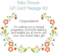 Baby Shower Gift Card Message Idea – Sending you so many warm wishes as you head out on this new adventure! You are going to be amazing parents to your new little sweetie girl. She will be so blessed to have you as her parents! Baby Card Messages, Baby Shower Card Message, Baby Shower Card Sayings, Baby Shower Messages, Baby Shower Quotes, Baby Shower Wishes, Best Baby Shower Gifts, Baby Shower Cards, New Baby Card Message