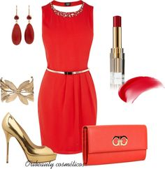 red style with oriflame lipstick