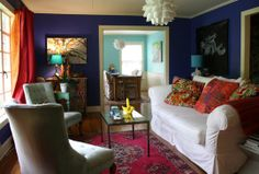 """Polly's """"Moody Blues"""" Room. Colour blocking with blue walls, rosy carpet and pink/orange curtains"""