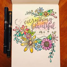 Gorgeous floral calligraphy page created by with their Chameleon Pens. Page Borders Design, Border Design, Different Lettering, Creative Notebooks, Make Your Own Card, Beautiful Lettering, Doodle Designs, Flower Doodles, Zentangle Patterns