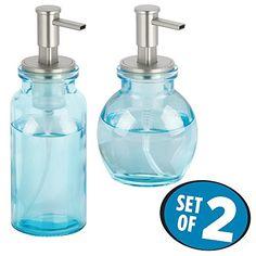 mDesign Glass Foaming Soap Dispenser Pumps for Kitchen, B...