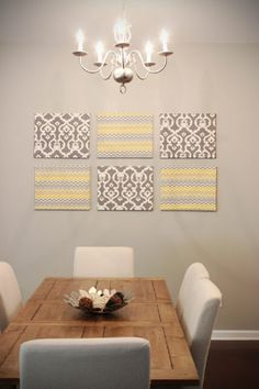 Easy Wall Art Modge Podge On Fabric Dining Room