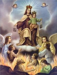 Our Lady of Mount Carmel. The feast of the Scapular; tradition says that about the year 1251 Our Lady gave it to blessed Simon Stock, an Englishman; Blessed Mother Mary, Blessed Virgin Mary, Religious Pictures, Religious Art, Mont Carmel, Madonna, Catholic Prayer Book, Catholic Prayers, Image Jesus