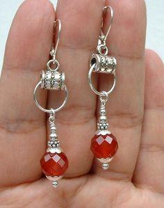 Pretty Faceted Red Carnelian Sterling Silver Earrings ---Leverbacks  A0124