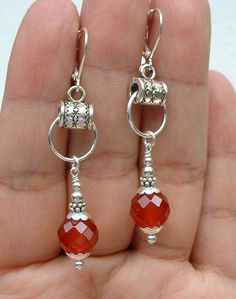 Nice idea to use a tub bail for earrings Pretty Faceted Red Carnelian Sterling Silver Earrings ---Leverbacks  - Easy to figure out!