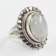 Rainbow Moon Stone Oval Shaped 925 Sterling Silver Ring #SilvexImagesIndiaPvtLtd #Statement