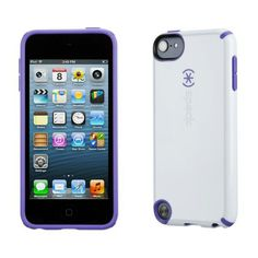 Speck for IPhone 4 and 5th gen. Get it at ipod-touch-cases.net -3XS = Style-Swag-Stand Out in this Icy White  with Purple Trim.