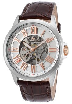 Lucien Piccard Watches Calypso Automatic Brown Gen. Leather Silver-Tone Dial Rose-Tone Accent 12683A-02S-RA-BRW,    #LucienPiccard,    #12683A02SRABRW,    #Dress