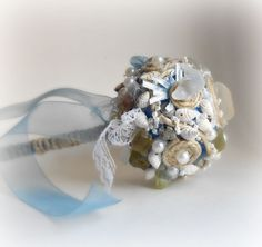 Beach Wedding Bouquet seashells and sea glass by SeaGlassStyle, $52.00