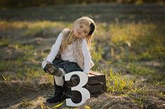 3 Sign Children's Photo Prop for 3rd Birthday