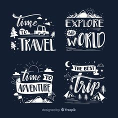 Collection of lettering travel badges Free Vector Chalkboard Art Quotes, Sign Quotes, Words Quotes, Calligraphy Quotes Doodles, Quotes Arabic, Typography Quotes, Badge, Travel Captions, Free Graphics